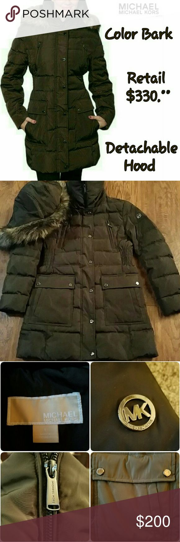 MICHAEL KORS HOODED QUILTED PUFFER COAT! New without tags (I do have the tags that came off, with moving I'm trying hard to find them :( Authentic  Size ~ Small **(I wear a Med & it fits me great!) So must be Over Sized Small!  Color ~ Bark (Brownish)  Retail ~ $330.00 Please chk out my other listings!  Bundle & Save!  Thank you! :) ♡  ♡♡♡ Michael by MICHAEL KORS ♡♡♡  ☆☆☆ Hooded Quilted Puffer Coat with faux fur & detachable Hood ☆☆☆  》 Tapered waist 》 MK EMBLEM 》 Every button & zipper on…