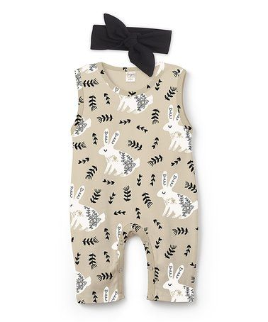 Look what I found on #zulily! Beige & Black Bunny Sleeveless Playsuit & Black Headband - Infant #zulilyfinds