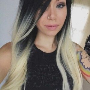Black Blonde Roots Ombre Dip Dye Gradient Premium Lacefront Gothic Cosplay Lush Wig $42.99
