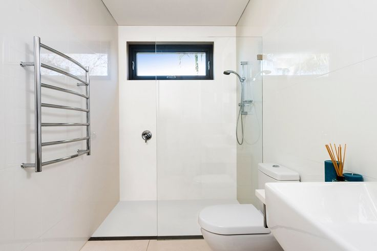 no grout shower area - featuring Corian® Glacier White walls and floor