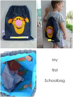 Zainetto per la scuola materna in jeans, con cotonina interna in fantasia ed applicazione in feltro (Tigro) cucita a mano. http://coccoledietrolangolo.blogspot.it/2013/09/my-first-schoolbag.html