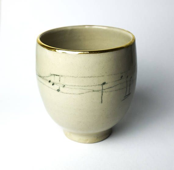 Ceramics Pottery Mug with music decor is very good Christmas gift idea for musician ! This minimalist music decor mug is a new addition to my new collection of functional ceramics designed to be sturdy for everyday. The white cream colour is beauty of the stoneware, with simple