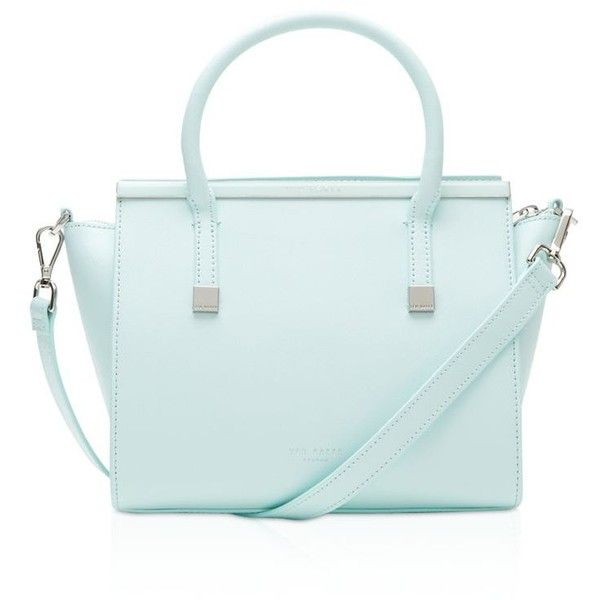 Ted Baker Tabatha Crosshatch Satchel ($295) ❤ liked on Polyvore featuring bags, handbags, mint, ted baker purse, satchel purse, genuine leather satchel handbags, blue leather purse and mint purse