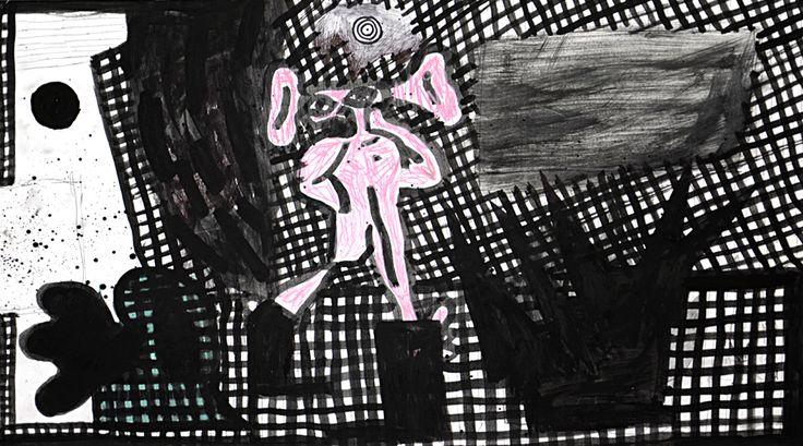 "MATEUSZ CZAPEK / ""CZAS CZAS CZAS"" / 2014 / 42 x 25 cm / tusz, kredka, papier"