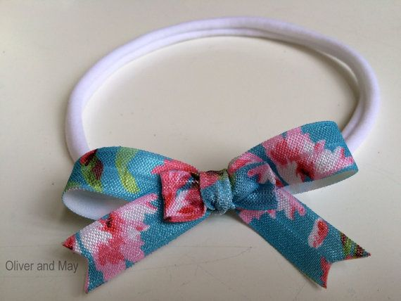 Aqua Floral Double Hairbow Nylon Elastic Stretch by OliverAndMay