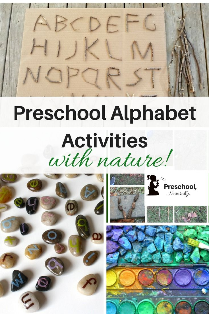 Combining preschool alphabet activities with nature is a wonderful way to teach children as they play outside in the fresh air. Here are a bunch of ideas to get you started.