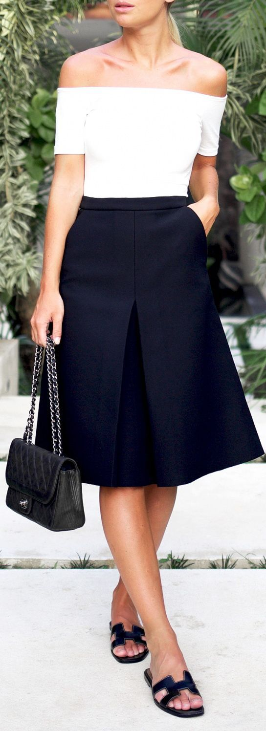 Off the shoulder top + midi skirt.