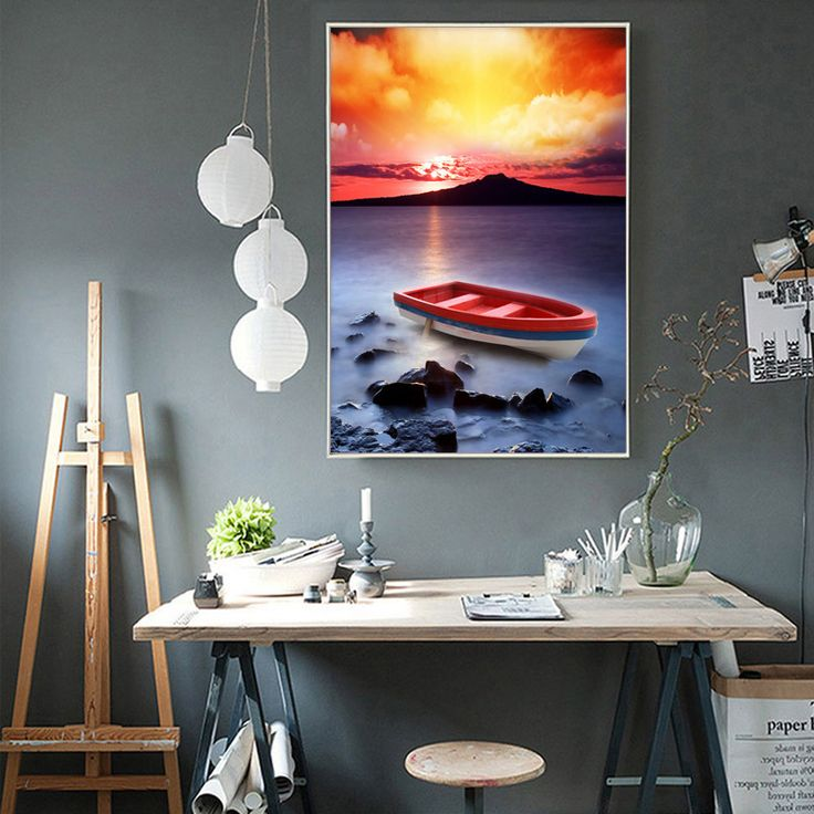 Bay Small Fishing Boat Pattern Full Diamond Painting Picture Landscape Mosaic Rhinestones Round Handwork DIY Diamond Paintings #Affiliate