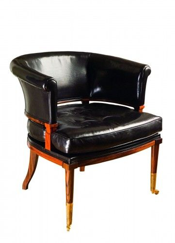 #handmade by 5 craftsman Leather  Quiver Klismos chair #MadeInUK