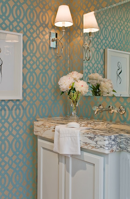 Best 25 beveled mirror ideas on pinterest mirror walls for Wallpaper for small powder room