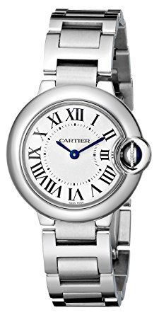 Cartier Women's W69010Z4 Ballon Bleu Stainless Steel Dress Watch- Stainless steel case, bracelet & bezel. Silver opaline dial with blued steel hands and black Roman numeral hour hour markers. Minute markers on an inner ring. Battery operated Swiss quartz movement. Scratch resistant anti-reflective sapphire crystal. Fluted crown set with synthetic cabochon. Solid case back. Case diameter: 28 mm. Case thickness: 9.5 mm. Deployment clasp. Water resistant at 30 meters / 100 feet.(affiliate link)