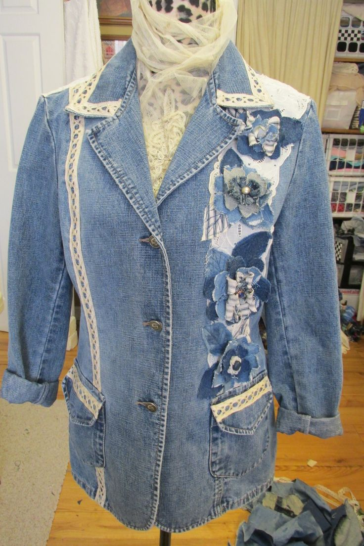 88 Best Jacket Inspiration Images On Pinterest Jean Jackets Denim Mom N Bab Vest Blue Upcycled With Lace And New Things From Old
