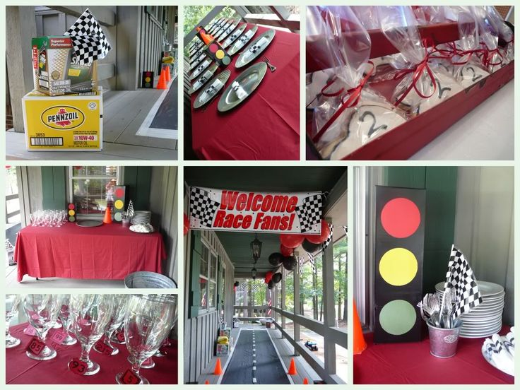 One of my favorites, lots of doable decorations: Race Car Theme Birthday Party Ideas | Jolly Mom