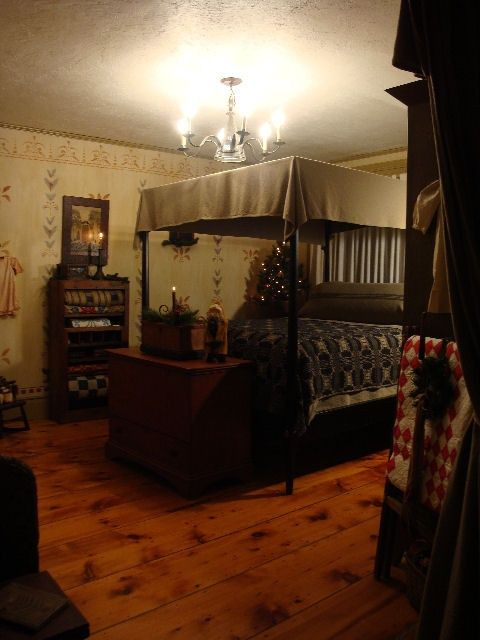 291 best primitive and colonial bedrooms images on for Primitive interior designs