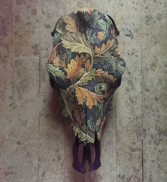 Skull Painted Animal Skull Cow Skull William Morris by WestHound