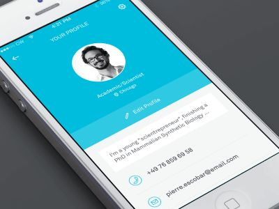 Personal profile and settings screen for a social app. created in AE.