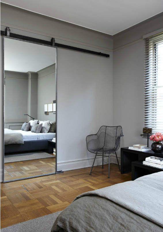 Desire to Inspire:  Dual purpose - door plus mirror for unfinished doorway.