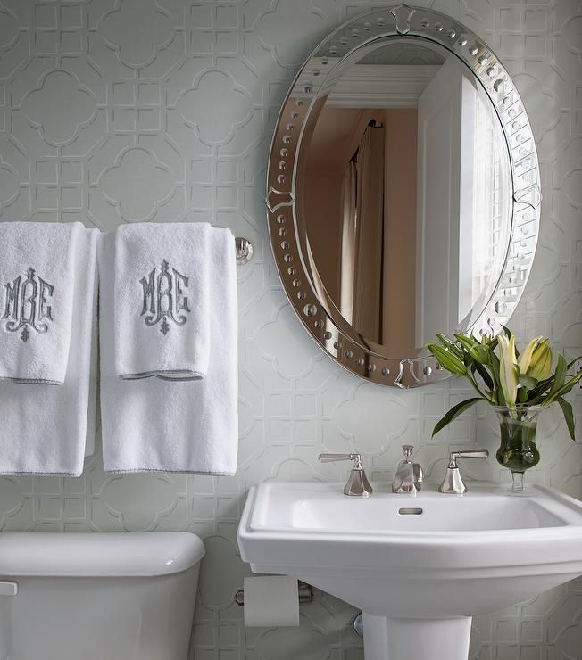 White and gray powder room