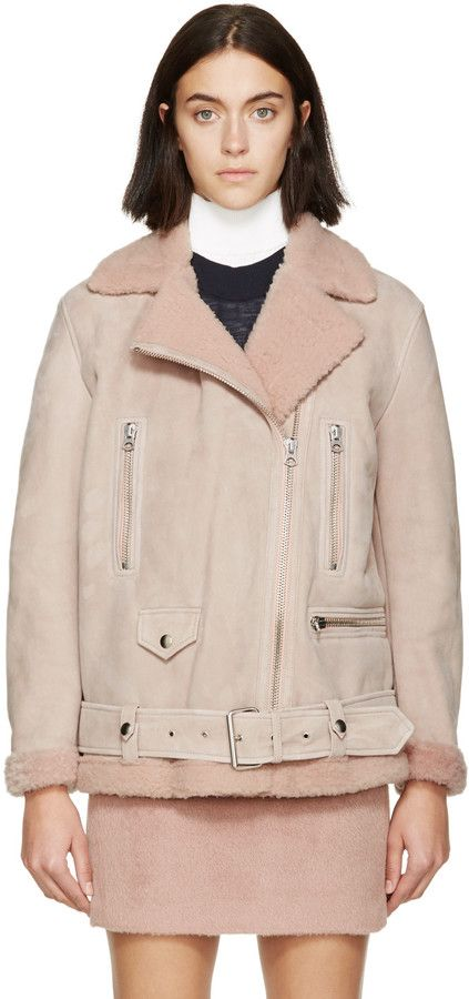 Acne Studios Pink Suede & Shearling Biker Jacket