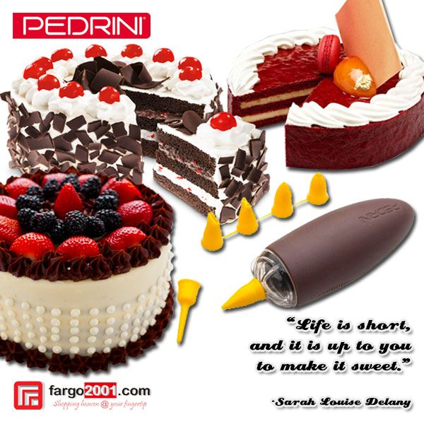 """""""Life is short and it is up to you to make it sweet"""" - Sarah Louise Delany http://fargo2001.com/housewares-315/kitchenwares-105/pedrini-337/pedrini-icing-pen-with-6-nozzles-1247.html"""