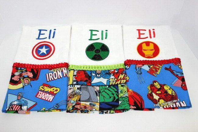 Super Hero Burp Cloth Set, Baby Burp cloths, Ironman burp cloths, Hulk burp cloths, Captain America burp cloths. by FunThreadzBoutique on Etsy
