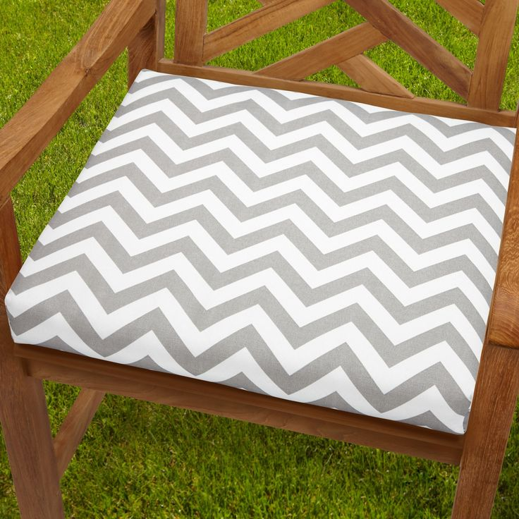 Bristol 20 Inch Indoor/ Outdoor Grey Chevron Chair Cushion (OSCS2956),  Outdoor