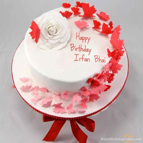 Butterflies Birthday Cake With Name Irfan Bhai Birthday