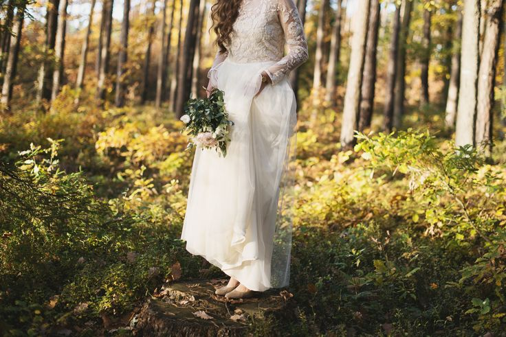 woods wedding session bride