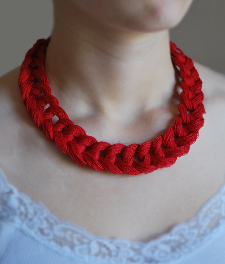 Linen Crocheted Necklace. LETICIA. Bright Red.. $22.00, via Etsy. made by magdalinen