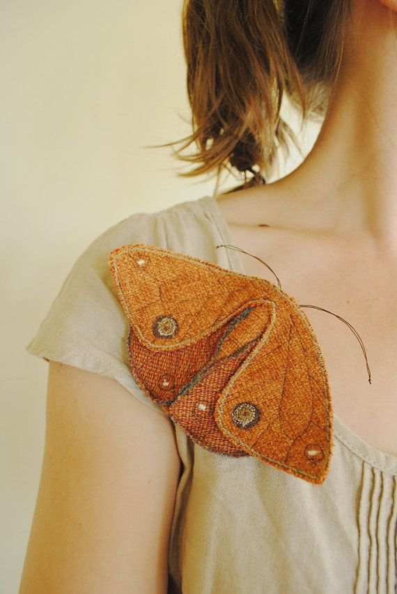 Fabric moths set of 5 / recycled / brooch / textile by willowynn