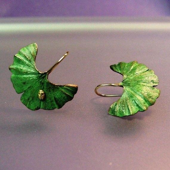 Ginkgo Leaf Earrings Tiny 18k insect 18k by PatrickIrlaJewelry, $295.00