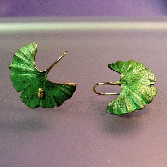 Ginkgo Leaf Earrings Tiny 18k insect 18k by PatrickIrlaJewelry, $295.00