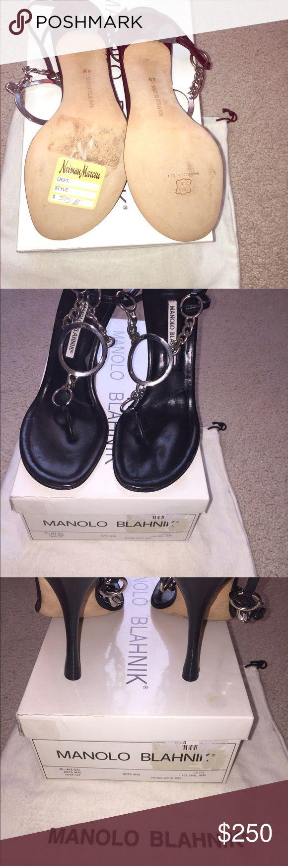 Black dress Manolo Blahnik sandal. NWT runs small Sexy sandal by Manolo Blahnik. NWT fits like 7 1/2 box and bag included. No trades please Manolo Blahnik Shoes Heels