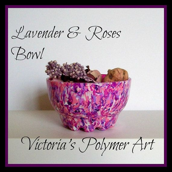 Lavender & Roses     Polymer Clay on Glass by VictoriasPolymerArt, £10.50