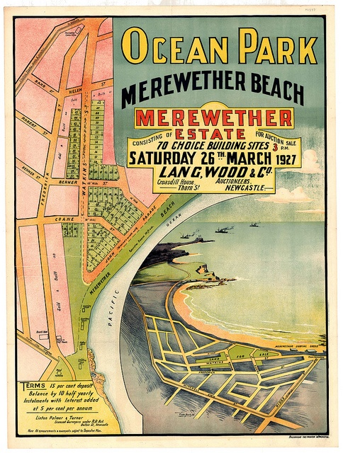 M1597 - Ocean Park Subdivision Plan, Merewether Beach, Merewether Estate, Saturday 26 March 1927. by Cultural Collections, University of Newcastle, via Flickr