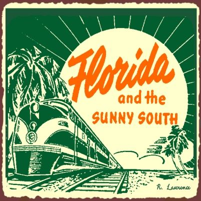 Florida and The Sunny South #vintage #travel #poster #USA
