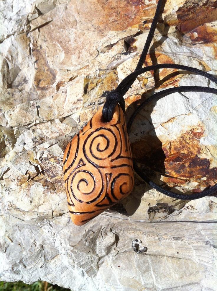 Wood Burn Celtic Spiral Necklace