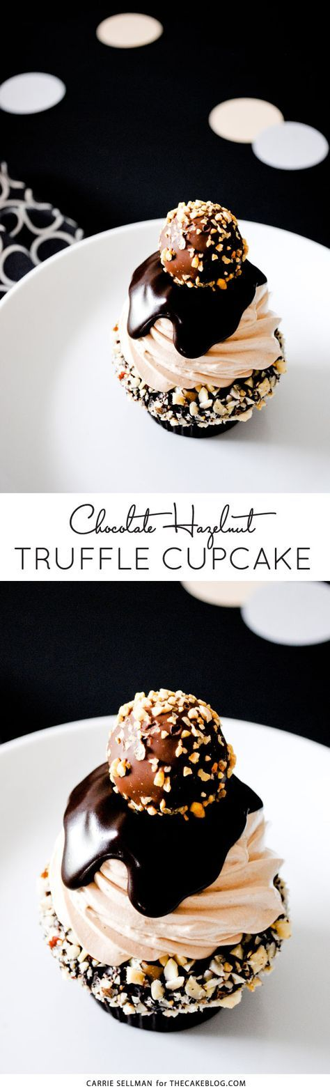 Chocolate Hazelnut Truffle Cupcake | dark chocolate ganche with hazelnuts, topped with milk chocolate buttercream, more ganache and a hazelnut crunch...