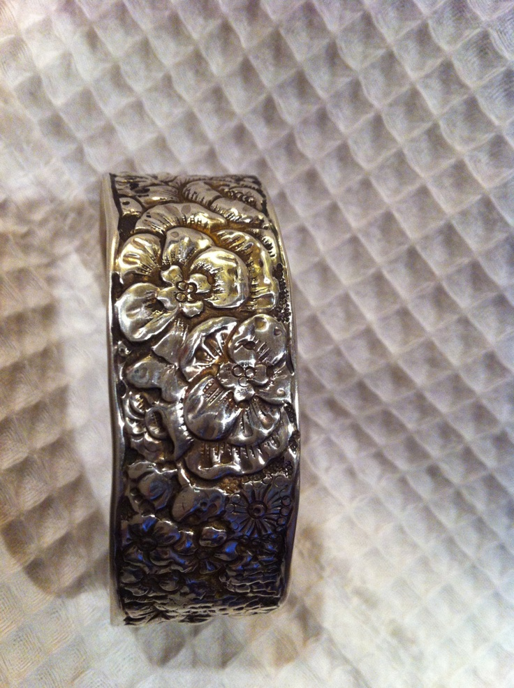 Slim STERLING Silver Cuff Bracelet flowers and love made by Minnie Wiggles from old brush backs. $150.00, via Etsy.