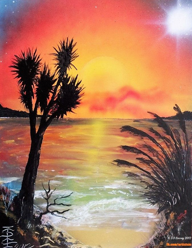 """Kiwiana Sunset"" Spray Can work (on 14"" x 11"" card). 2012."
