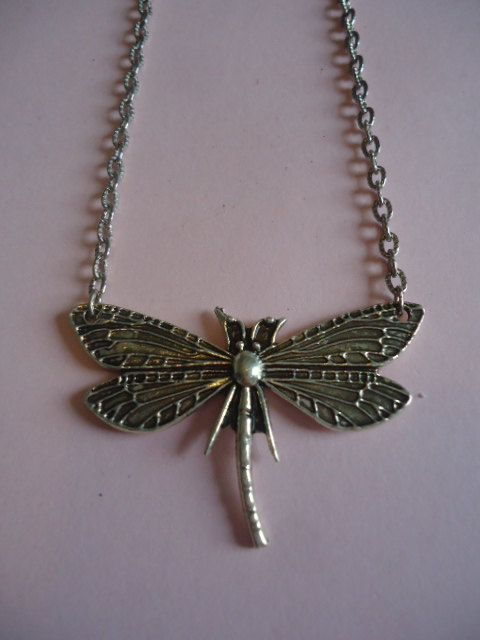 Silver Dragonfly Necklace by TallulahStack on Etsy, $10.00