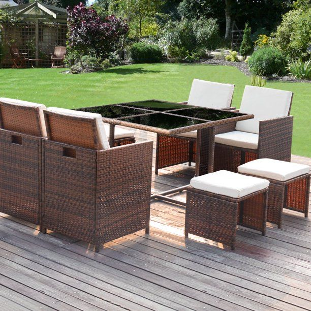 Walnew 9 Pieces Patio Dining Sets, Woven Resin Wicker Outdoor Furniture