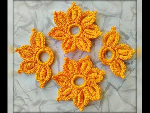 Уроки вязания - Цветок №2 крючком - Ирландское кружево - Flower for Irish - YouTube