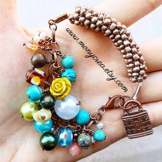 Guarda questo articolo nel mio negozio Etsy https://www.etsy.com/it/listing/502580198/grapeful-copper-beaded-bracelet-bangle