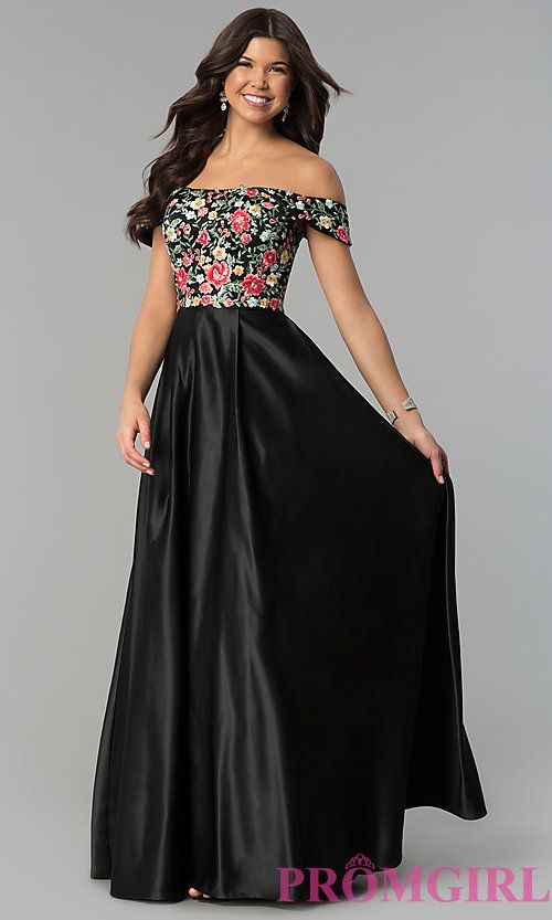 64d393901c Long Off-Shoulder Prom Dress with Floral Embroidery in 2019 | + PROM ...