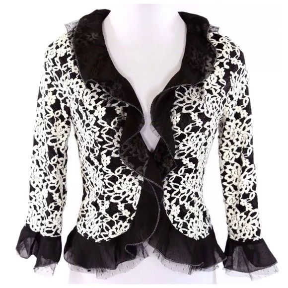 """Ruffle Lace Black White Gold Cardigan Jacket ‼️PRICE FIRM‼️  Small  SIMPLY BEAUTIFUL!!!  Layers of tulle & lace make this an absolutely beautiful piece that can go from the office to a dinner party effortlessly.  And it is perfect for year round wear!  Fully lined.  It would look amazing with layers of pearls! Lots and lots of stretch for a perfect & comfortable fit! Self: 90% nylon, 10% spandex.  Contrast: 100% polyester.  Armpit to armpit 33""""-36""""  Shoulders 18""""-21""""  Waist 26""""-32""""   Length…"""
