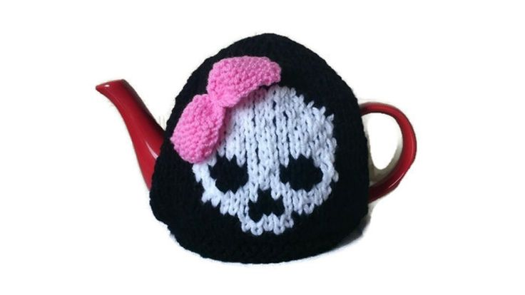 Skull and Bow Tea Cosy Hand Knitted Goth Rockabilly Kitchen Tea Warmer by thekittensmittensuk on Etsy