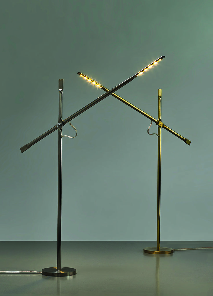 hagai vered uses metal pipe-squashing techniques in lamp