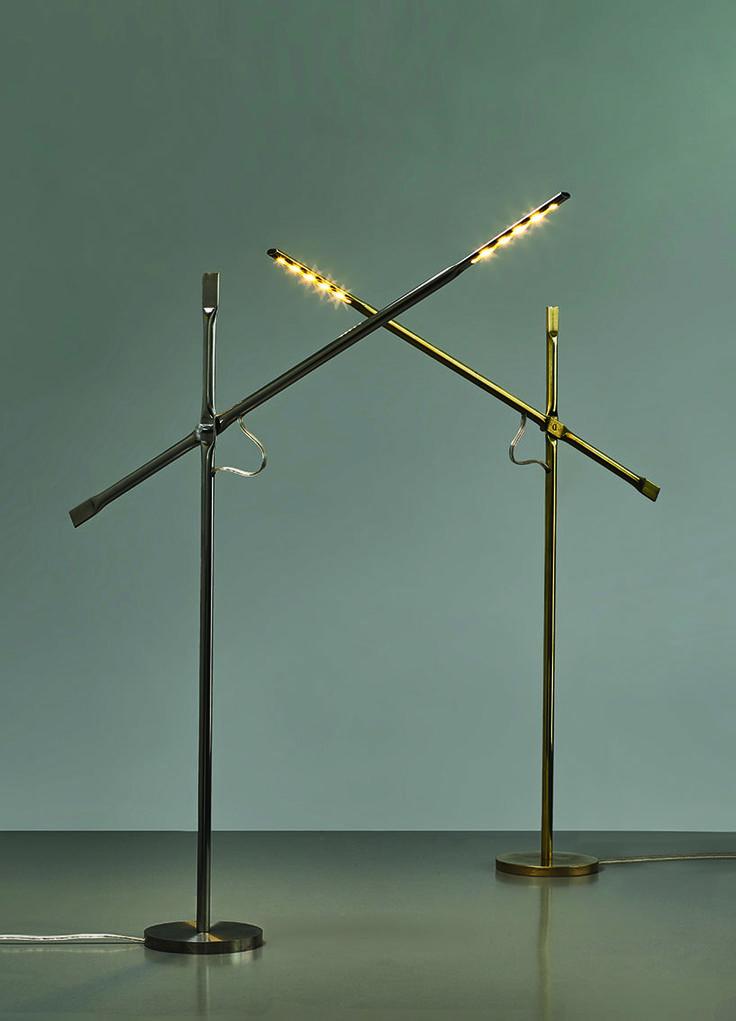 hagai vered uses metal pipe-squashing techniques in lamp