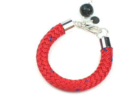 Red Rope Bracelet Chunky Braided Boating Cord Womens Nautical Handmade Marine Rope Charm Textile Summer Jewelry Gift for Her by elle & belle